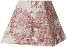 Abat-jour carré toile de Jouy en lin