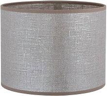 Abat-jour cylindrique en lin gris argenté