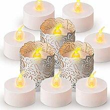 Abat Jour de Bougie à LED,24 Pack Bougie Lumière