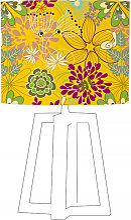 Abat-jour jaune imprimé vert d 35 cm