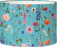 Abat-jour Lampadaire fleur bleu acidulé D 45 x H