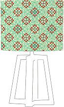 Abat-jour vert imprimé orange d 35 cm