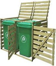 Abri pour poubelle Cache-poubelle Jardin double