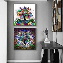 Abstrait couleur papillon arbre toile peinture
