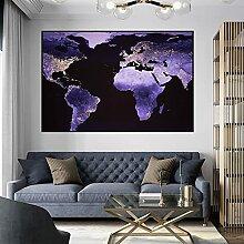 Abstrait violet carte du monde affiches et