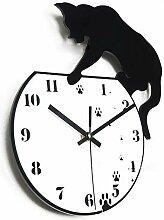 ACAMPTAR Acrylique Méchant Chat Horloge Horloge