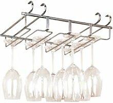 Accroche-verres chromé pour étagère