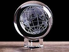 ACEACE 3D Gravé Terre Boule de Cristal Miniature