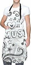 Aeykis Love Music Tablier de cuisine avec poche et
