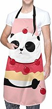 Aeykis Panda Donuts Tablier unisexe avec poche et