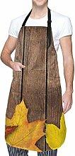 Aeykis Tablier de cuisine en bois jaune avec poche