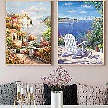Affiche abstraite de paysage de fleur de mer
