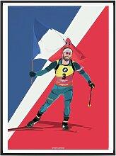 Affiche biathlon Martin porte drapeau 40x60 cm
