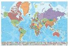 Affiche Carte Du Monde Italien Physique Politique