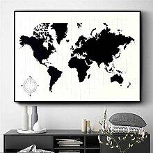 Affiche D'Illustration De Carte du Monde Noir
