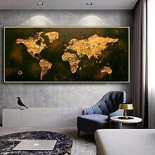 Affiche de carte du monde doré Vintage HD, carte