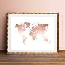 Affiche de carte du monde en or Rose, décoration
