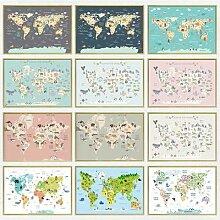 Affiche de carte du monde imprimée, toile