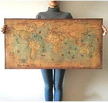Affiche de carte du monde Vintage pour Journal,