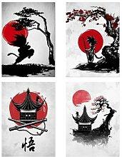 Affiche de dessin animé japonais de style