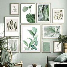 Affiche de feuille de plante verte, toile