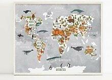 Affiche de la carte du monde Animal en bois,