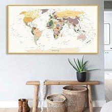 Affiche de la carte du monde imprimée HD,