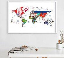 Affiche de la carte du monde jointe avec drapeaux