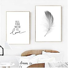 Affiche de peinture sur toile avec plume,