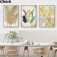 Affiche de plante moderne, feuille d'or,