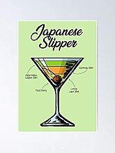 Affiche de recette de cocktail japonais de cocktail