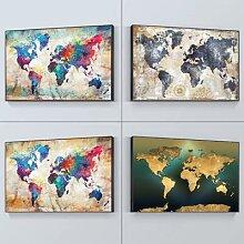 Affiche de toile de peinture de carte du monde HD