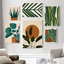 Affiche de toile de plante Boho, feuille de