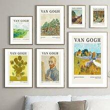 Affiche de tournesol nordique rétro Van Gogh,