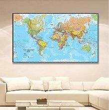 Affiche détaillée de la carte du monde, toile