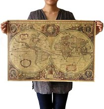 Affiche en papier Kraft Vintage carte du monde