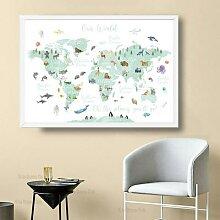 Affiche en toile avec carte du monde Animal