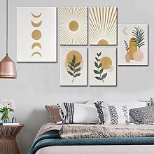 Affiche en toile avec Vase, plante, soleil et