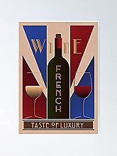 Affiche française de vin et de verre