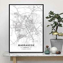 Affiche imprimée, carte du monde de dubaï, Rabat