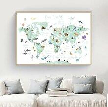 Affiche murale avec animaux de dessin animé,