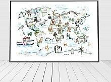 Affiche murale avec carte du monde des animaux,