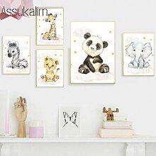Affiche murale avec éléphant, Panda, girafe,