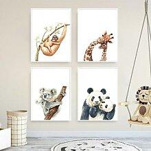 Affiche murale avec singe, girafe, raton laveur,