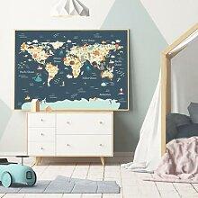 Affiche murale de la carte du monde des animaux de