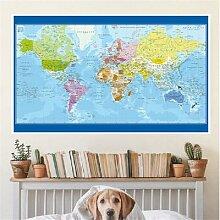 Affiche murale de la carte du monde en français,