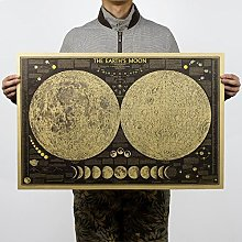 Affiche murale vintage carte du monde lune et lune