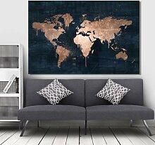 Affiche sur toile de la carte du monde abstraite,