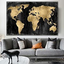 Affiche toile de carte du monde abstraite Vintage,