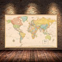 Affiche Vintage de la carte du monde de grande